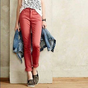 Anthro Pilcro Pale Coral Stet Straight Crop Jeans